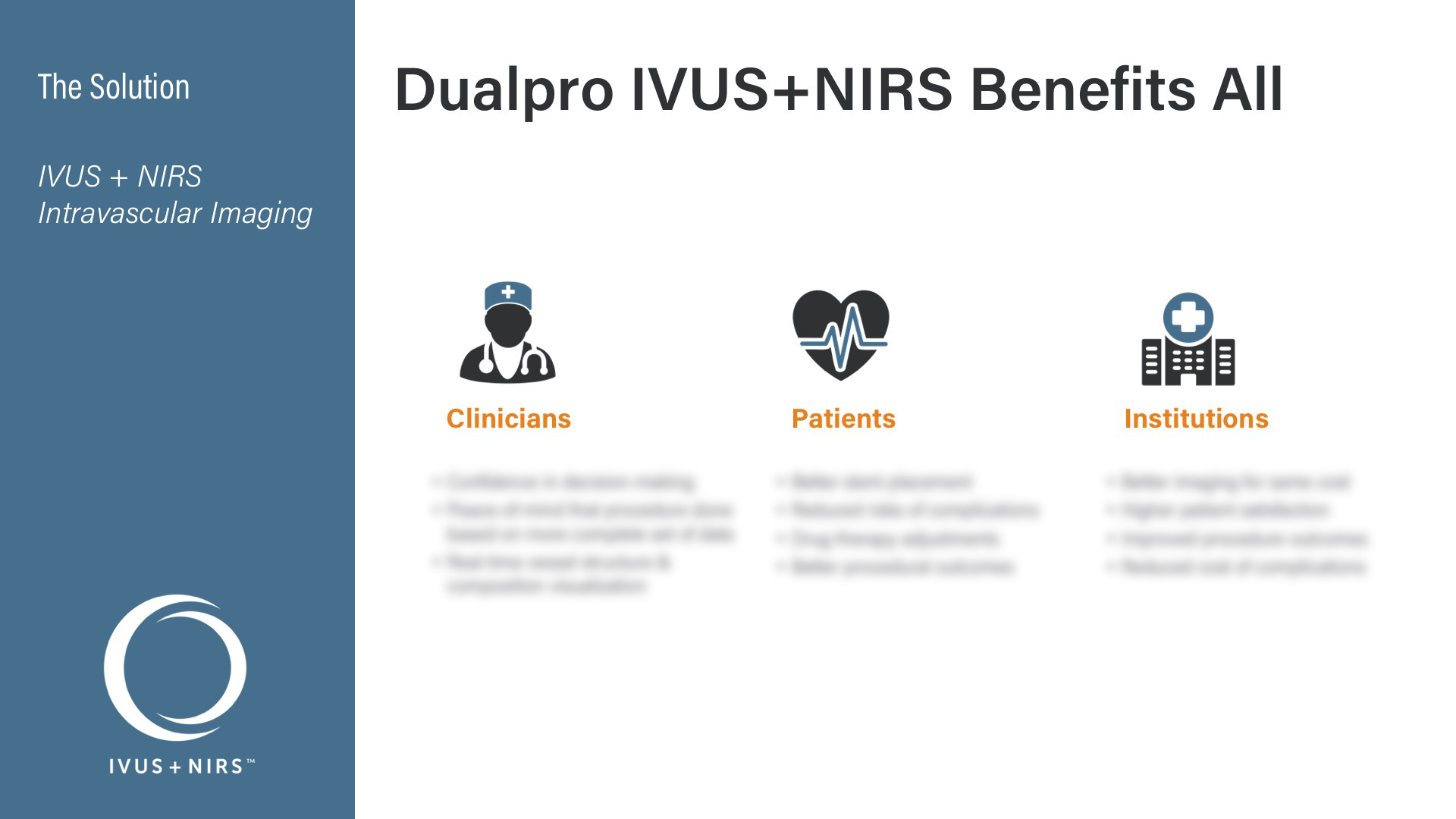 Infraredx Corporate Deck - Solution - Dualpro IVUS+NIRS Benefits All